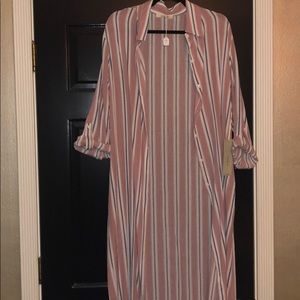 Open Front Striped Duster